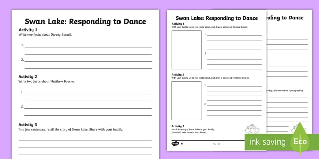 Swan Lake Responding to Dance 1 Differentiated Activity Sheets - Genres of Dance,Scottish, ballet, Swan Lake, Darcey Bussell, Matthew Bourne