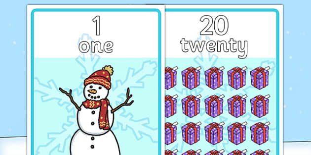 Winter Themed Number Posters with Words & Numbers (1-20) -  Winter, numeracy, counting, number poster, number words, display banner, polar, arctic, display, winter words, Word card, flashcard, snowflake, snow, winter, frost, cold, ice, hat, gloves, d