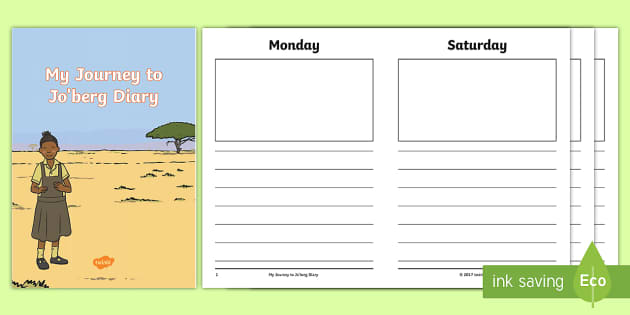 diary writing template to support teaching on journey to jo burg