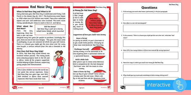 Organised Events Red Nose Day Primary Resources - Events Days