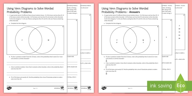 using venn diagrams to solve worded probability problems. Black Bedroom Furniture Sets. Home Design Ideas