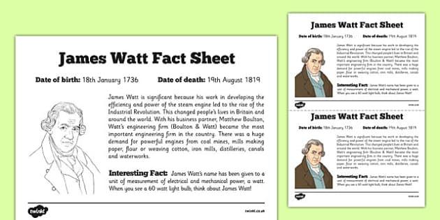 Scottish Significant Individuals James Watt Fact Sheet - CfE, significant individuals, engineering, steam engine, horsepower, watt, science, inventions, inventor, curriculum, excellence