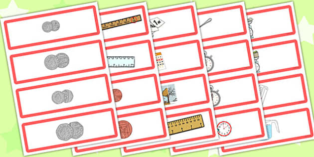 Measures Vocabulary and Picture Card Games Picture Cards - picture cards