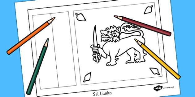 Sri lanka flag colouring sheet countries geography flags for Sri lanka flag coloring page
