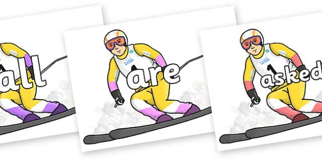 Tricky Words on Alpine Skating - Tricky words, DfES Letters and Sounds, Letters and sounds, display, words