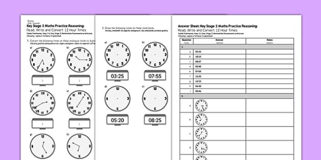 KS2 Reasoning Test: Read, Write Polish Translation - polish, Key Stage 2, KS2, Reasoning, Test, Practice, Measurement, Time