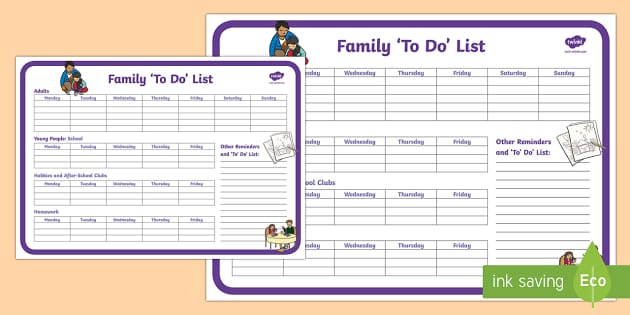 family to do list planning template young people families. Black Bedroom Furniture Sets. Home Design Ideas