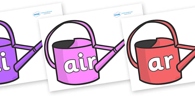 Phase 3 Phonemes on Watering Cans - Phonemes, phoneme, Phase 3, Phase three, Foundation, Literacy, Letters and Sounds, DfES, display
