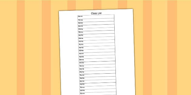 Editable Class List Template - class list, editable, template