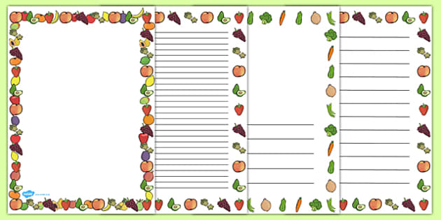Fruit And Vegetables Themed A4 Page Border Food Fruit