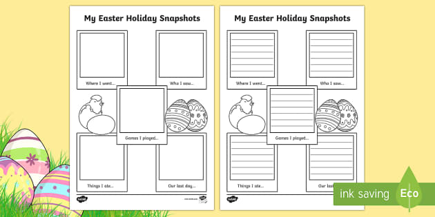 Easter Holiday Snapshots Writing Frame