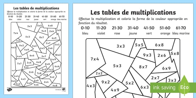 Feuille de coloriages et calculs les tables de for Les multiplications