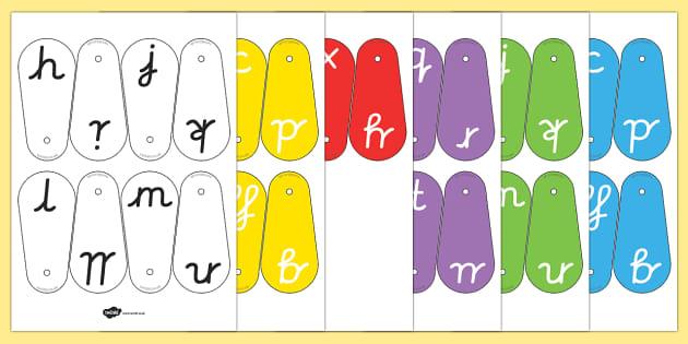 A-Z Letter Fans (Cursive) - Phoneme fans, Alphabet  Fans, A-Z letters, Alphabet flashcards, foundation stage literacy, letters and sounds, DfES, KS1