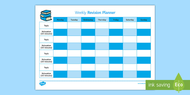 Weekly Revision Timetable - Young People & Families Case File