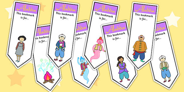 Aladdin Editable Bookmarks - aladdin, bookmark, reading, read