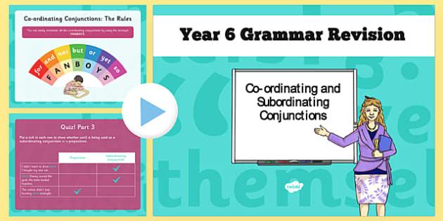 Y6 Grammar Revision Guide Subordinate Conjunctions ...