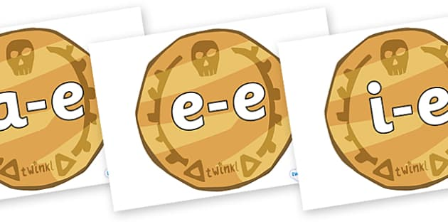 Modifying E Letters on Pirate Coins - Modifying E, letters, modify, Phase 5, Phase five, alternative spellings for phonemes, DfES letters and Sounds