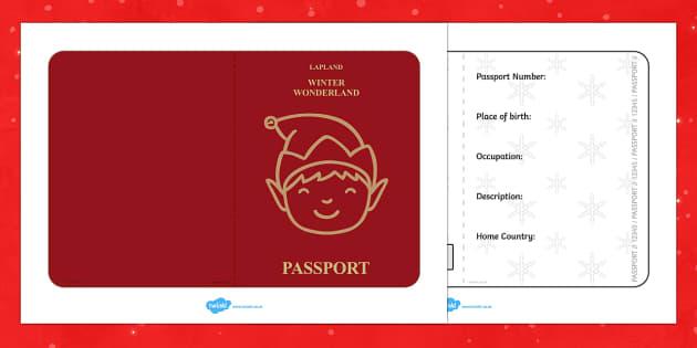 elf passport writing frame