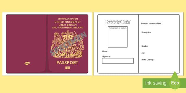 British Passport Template Passport Design Holiday