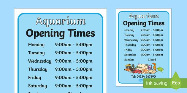 the aquarium play opening times aquarium play