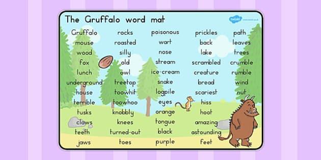 The Gruffalo Word Mat Text - australia, gruffalo, word mat, text