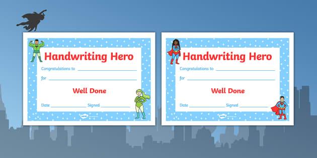 Handwriting Hero Certificate Boys Girls - handwriting hero