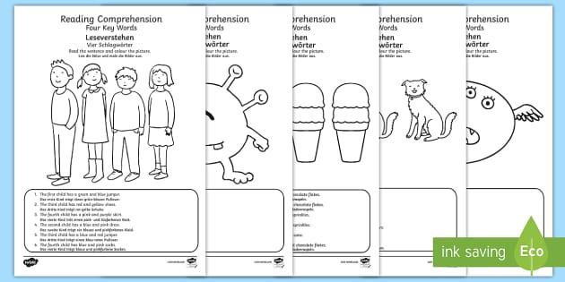 reading comprehension four key words activity sheets. Black Bedroom Furniture Sets. Home Design Ideas