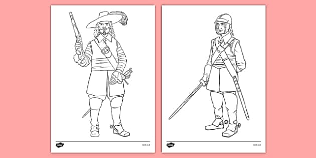 roundheads and cavaliers colouring sheets royalist