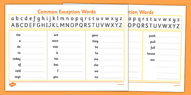handwriting strip with year 1 common exception words practice. Black Bedroom Furniture Sets. Home Design Ideas