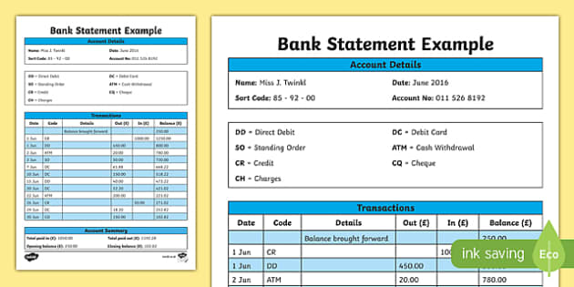 Bank Statement Example  Cfe Everyday Maths Real Life Maths
