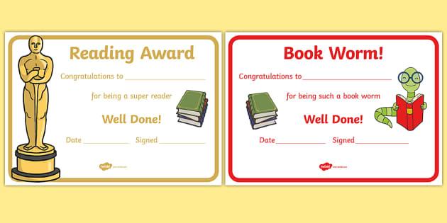 editable reading award certificates editable reading award