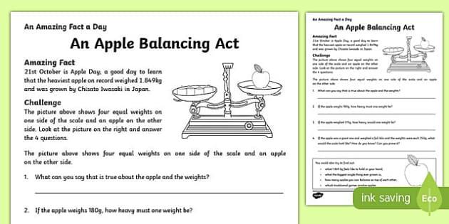 an apple balancing act activity sheet worksheet. Black Bedroom Furniture Sets. Home Design Ideas