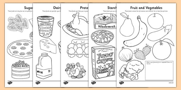 Healthy eating colouring sheets healthy eating food groups for Healthy foods coloring pages