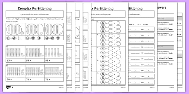 complex partitioning of 2 digit numbers differentiated activity. Black Bedroom Furniture Sets. Home Design Ideas