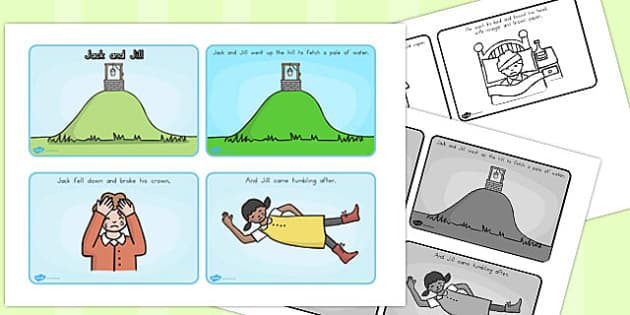 Jack and Jill Story Sequencing 4 A4 Black and White - australia