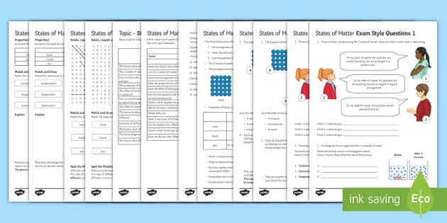 States of Matter Assessment Package - Assessment Package, states of matter, solid, liquid, gas, evaporation, diffusion