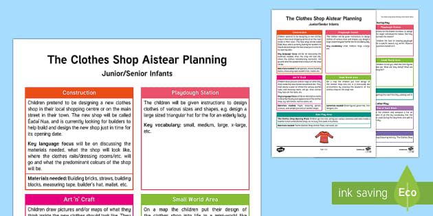 Aistear The Clothes Shop Planning Template