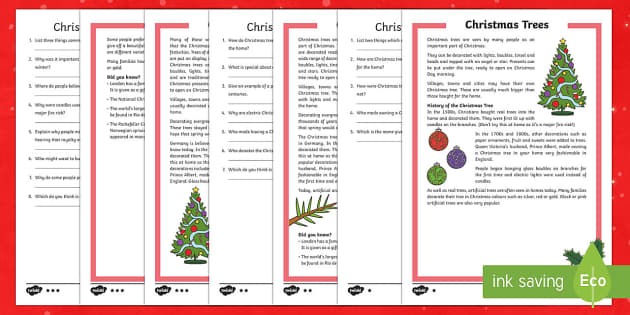 KS2 Christmas Trees Differentiated Reading Comprehension Activity - Christmas, Nativity, Jesus, xmas, Xmas, Father Christmas, Santa, Christmas tree, reading comprehensi