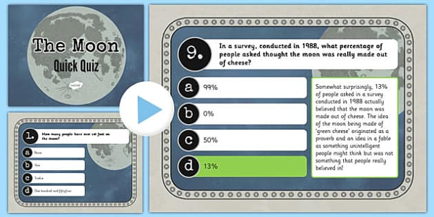 The Moon Quick Quiz PowerPoint - the moon, quick quiz, powerpoint, quick, quiz