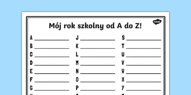 Szablon Mój rok szkolny od A do Z po polsku