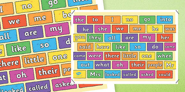 Coloured Brick Wall Tricky Words Mat - tricky word, brick, wall, mat, word