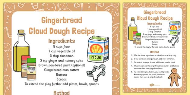 Gingerbread Cloud Dough Recipe - Cloud, dough, christmas, EYFS, gingerbread