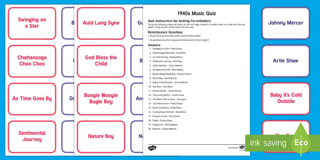 1940s Music Quiz Matching Cards - Singing, Tips, Elders, Activity Co-ordinators, Care Homes, Elderly Care, Quiz, Match, Singer, Song,