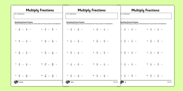 year 6 multiply fractions cancelling common factors activity. Black Bedroom Furniture Sets. Home Design Ideas