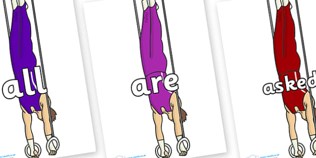 Tricky Words on Gymnasts (Hoops) - Tricky words, DfES Letters and Sounds, Letters and sounds, display, words