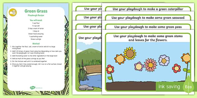Green Themed Playdough Recipe and Mat Pack
