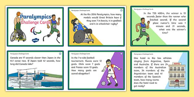 KS1 Paralympics Maths Challenge Cards