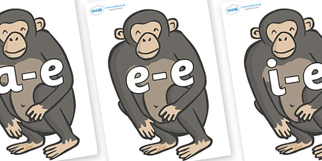 Modifying E Letters on Chimpanzees - Modifying E, letters, modify, Phase 5, Phase five, alternative spellings for phonemes, DfES letters and Sounds