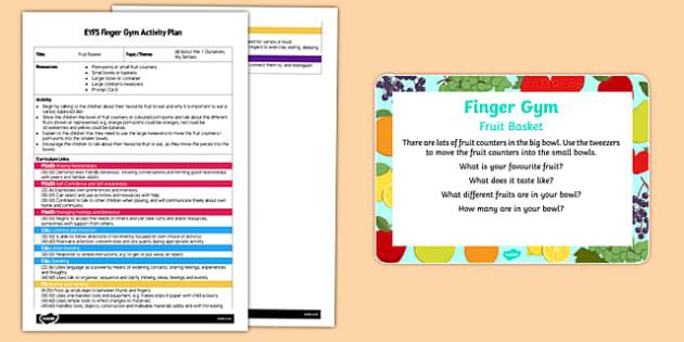 EYFS Fruit Basket Finger Gym Plan and Prompt Card Pack