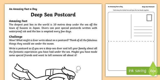 Deep Sea Postcard Activity Sheet, worksheet